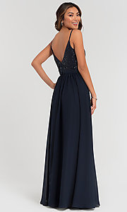 Image of v-neck long bridesmaid dress with beaded bodice. Style: KL-200072 Detail Image 4
