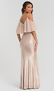 Image of flounce-top long sequin Kleinfeld bridesmaid dress. Style: KL-200078 Detail Image 4
