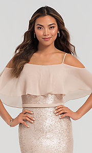 Image of flounce-top long sequin Kleinfeld bridesmaid dress. Style: KL-200078 Detail Image 5