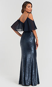 Image of flounce-top long sequin Kleinfeld bridesmaid dress. Style: KL-200078 Back Image