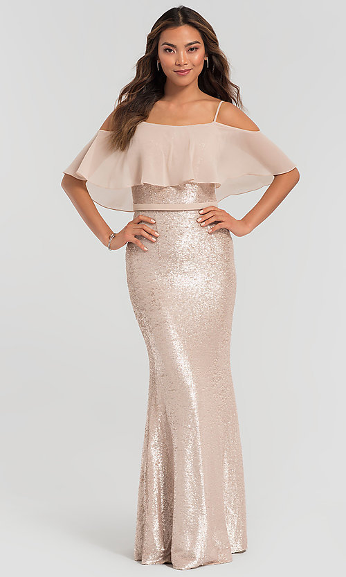 Image of flounce-top long sequin Kleinfeld bridesmaid dress. Style: KL-200078 Detail Image 3
