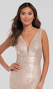 Image of Kleinfeld v-neck sequin long bridesmaid dress. Style: KL-200079 Detail Image 1