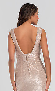 Image of Kleinfeld v-neck sequin long bridesmaid dress. Style: KL-200079 Detail Image 2