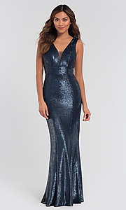 Image of Kleinfeld v-neck sequin long bridesmaid dress. Style: KL-200079 Detail Image 3