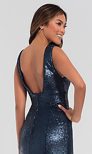 Image of Kleinfeld v-neck sequin long bridesmaid dress. Style: KL-200079 Detail Image 6