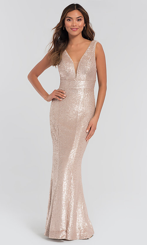 Image of Kleinfeld v-neck sequin long bridesmaid dress. Style: KL-200079 Front Image