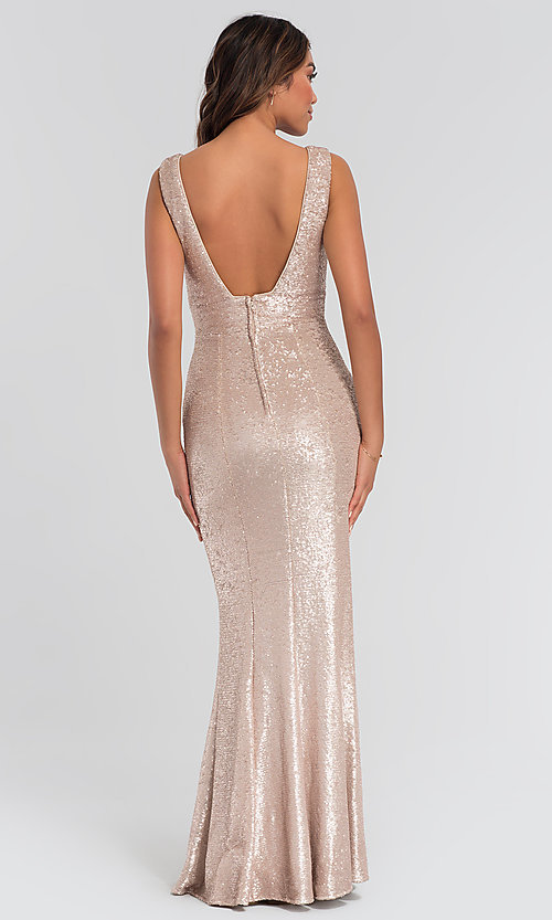 Image of Kleinfeld v-neck sequin long bridesmaid dress. Style: KL-200079 Back Image