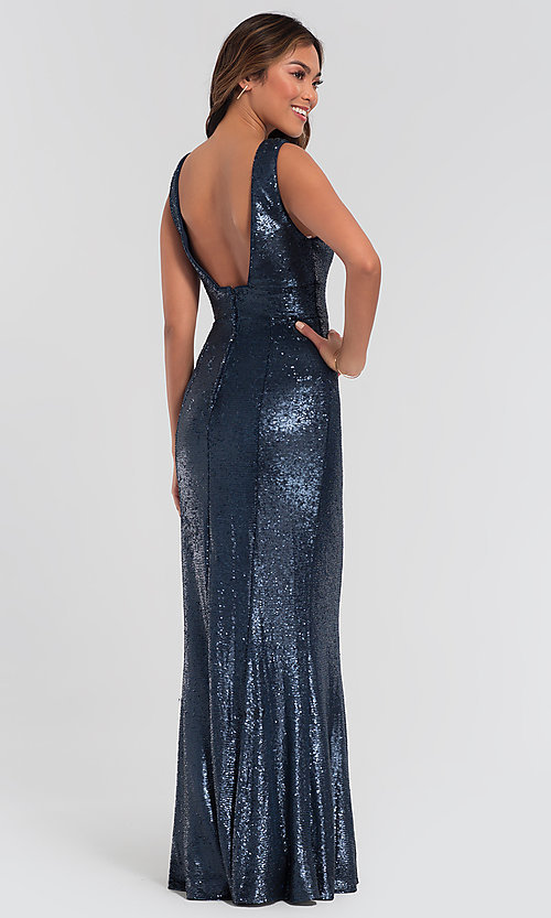 Image of Kleinfeld v-neck sequin long bridesmaid dress. Style: KL-200079 Detail Image 4