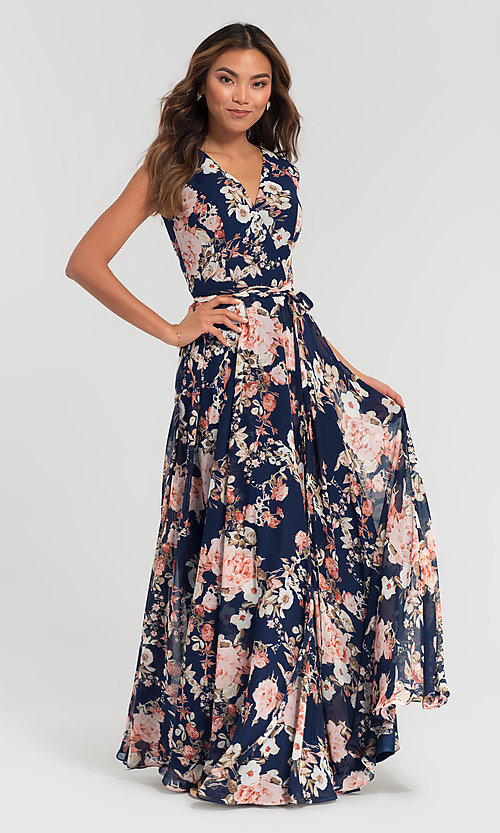 Image of a-line floral-print chiffon long bridesmaid dress. Style: KL-200084 Front Image