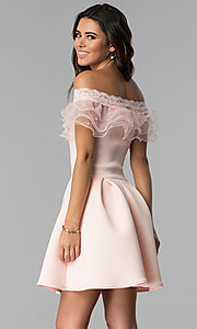 Image of lace-trimmed off-the-shoulder short party dress. Style: DC-46290 Back Image