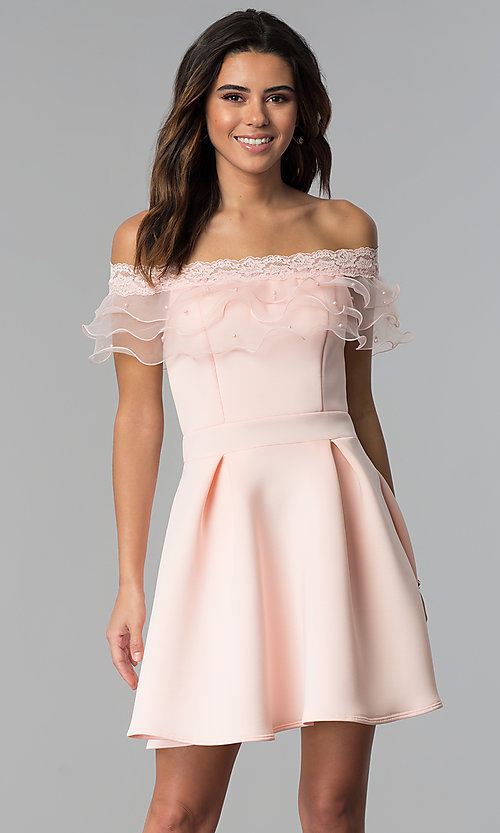 Image of lace-trimmed off-the-shoulder short party dress. Style: DC-46290 Front Image