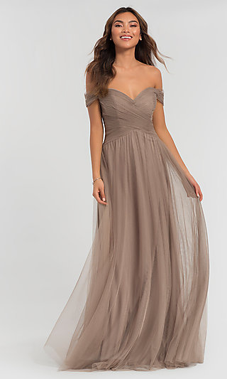 Long Tulle Formal Off-the-Shoulder Bridesmaid Dress