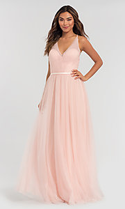 Image of a-line long tulle bridesmaid dress. Style: KL-200104 Detail Image 3