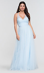Image of a-line long tulle bridesmaid dress. Style: KL-200104 Detail Image 6