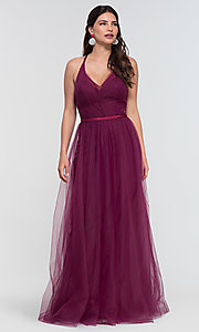 Image of a-line long tulle bridesmaid dress. Style: KL-200104 Detail Image 7