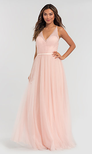 A-Line Long Tulle Bridesmaid Dress
