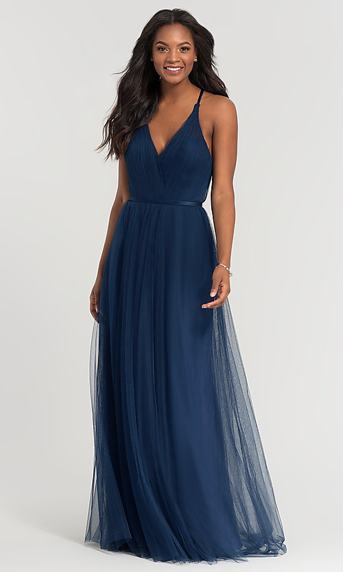 Image of a-line long tulle bridesmaid dress. Style: KL-200104 Front Image