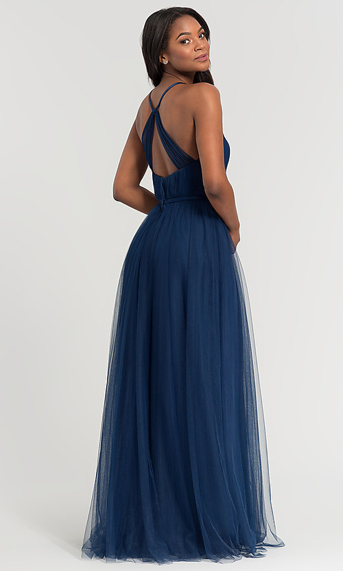 Image of a-line long tulle bridesmaid dress. Style: KL-200104 Back Image