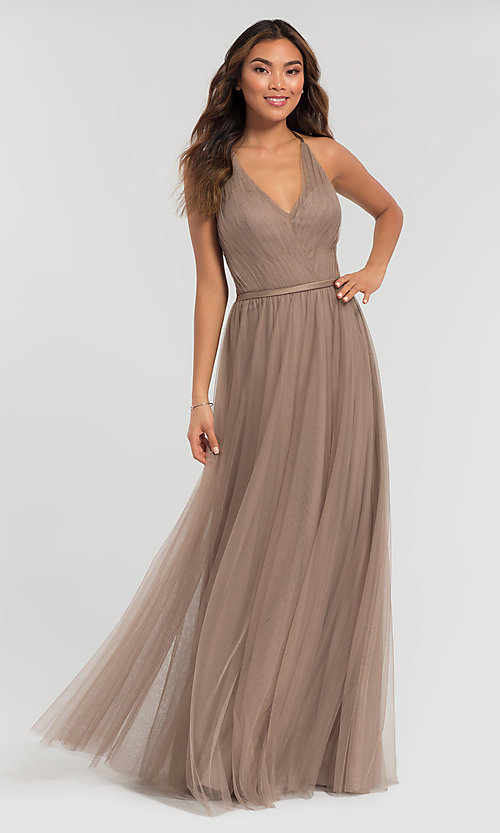 Image of a-line long tulle bridesmaid dress. Style: KL-200104 Detail Image 5