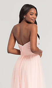 Image of pleated-bodice long bridesmaid dress. Style: KL-200107 Detail Image 4