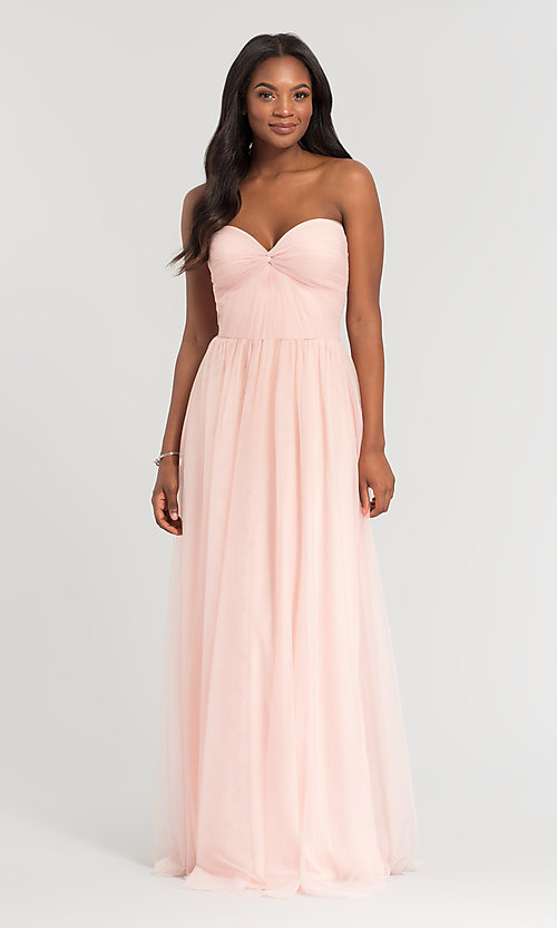 Image of pleated-bodice long bridesmaid dress. Style: KL-200107 Detail Image 2