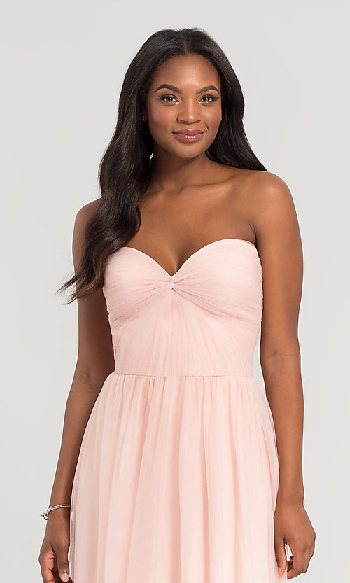 Image of pleated-bodice long bridesmaid dress. Style: KL-200107 Detail Image 3