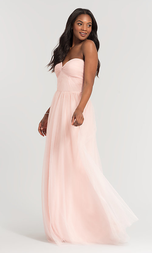 Image of pleated-bodice long bridesmaid dress. Style: KL-200107 Detail Image 5