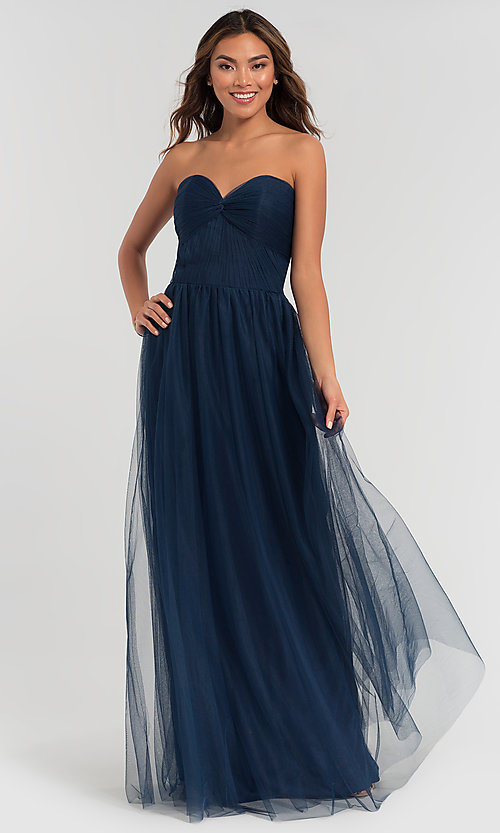 Image of pleated-bodice long bridesmaid dress. Style: KL-200107 Detail Image 7