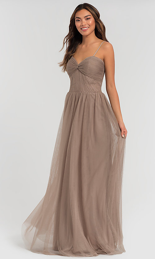 Image of pleated-bodice long bridesmaid dress. Style: KL-200107 Front Image