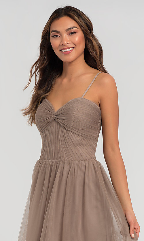 Image of pleated-bodice long bridesmaid dress. Style: KL-200107 Detail Image 1