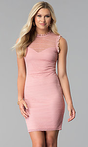 Image of short blush pink high-neck lace grad party dress. Style: MD-D15798CPZ Front Image