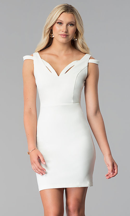 0db5c2e7d499 Image of short sheath cold-shoulder off white party dress. Style  MD-