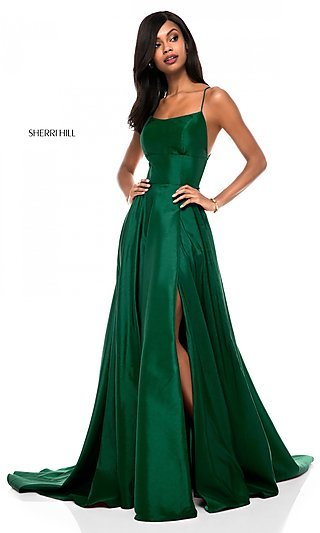 fa01c7823e Emerald. Sherri Hill Backless Formal Prom Dress with Slit