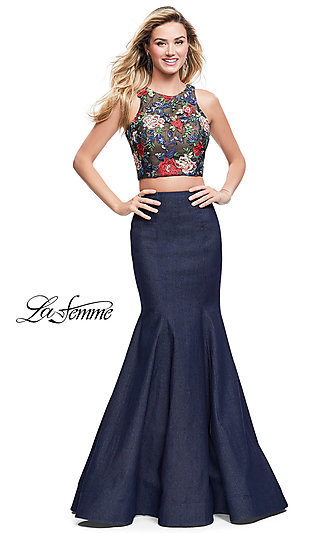 Two-Piece Embroidered Open-Back La Femme Prom Dress