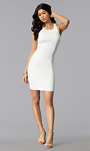 Image of sleeveless short multi-strap white graduation dress. Style: AC-DX22076B-W Detail Image 3