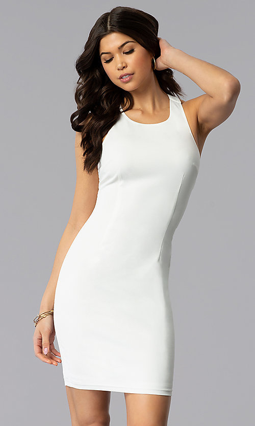 Image of sleeveless short multi-strap white graduation dress. Style: AC-DX22076B-W Back Image