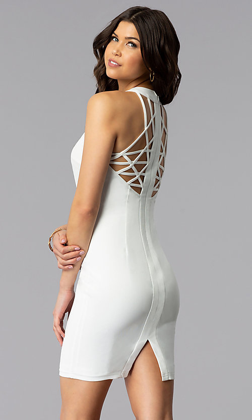 Image of sleeveless short multi-strap white graduation dress. Style: AC-DX22076B-W Front Image