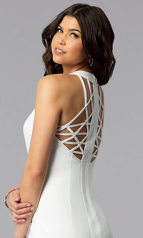 Image of sleeveless short multi-strap white graduation dress. Style: AC-DX22076B-W Detail Image 2