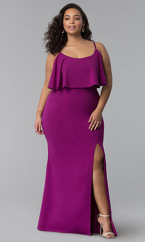 Plus-Size Flounce-Bodice Long Wedding Guest Dress