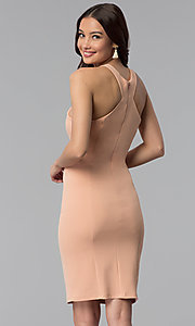 Image of dusty pink short sheath graduation party dress. Style: MB-7253 Back Image