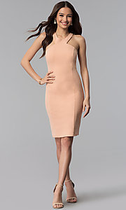 Image of dusty pink short sheath graduation party dress. Style: MB-7253 Detail Image 3