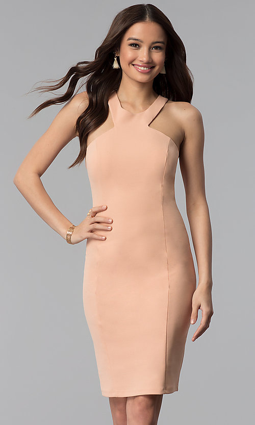 Image of dusty pink short sheath graduation party dress. Style: MB-7253 Front Image