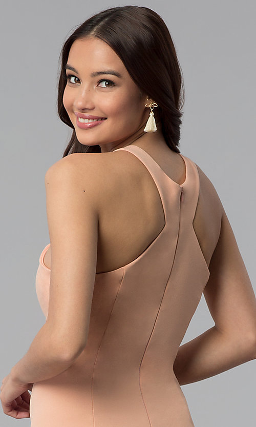 Image of dusty pink short sheath graduation party dress. Style: MB-7253 Detail Image 2
