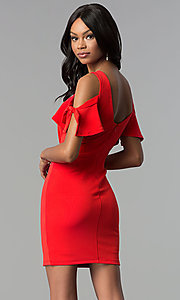 Image of cold-shoulder short red cocktail party dress. Style: AS-A65964A24 Back Image