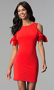 Image of cold-shoulder short red cocktail party dress. Style: AS-A65964A24 Front Image