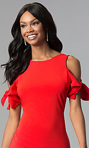 Image of cold-shoulder short red cocktail party dress. Style: AS-A65964A24 Detail Image 1