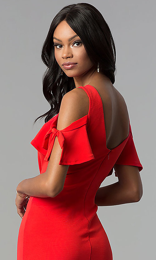 Image of cold-shoulder short red cocktail party dress. Style: AS-A65964A24 Detail Image 2