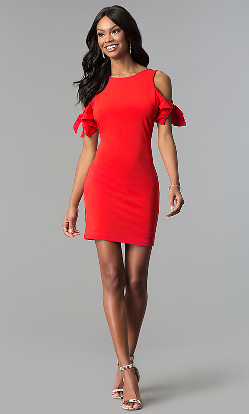 Image of cold-shoulder short red cocktail party dress. Style: AS-A65964A24 Detail Image 3