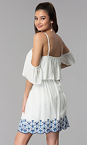 Image of off-the-shoulder casual dress with embroidered hem. Style: AS-A4967-1G11 Back Image