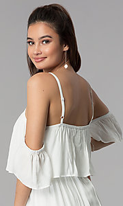 Image of off-the-shoulder casual dress with embroidered hem. Style: AS-A4967-1G11 Detail Image 2